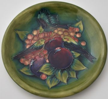 Moorcroft Pottery Finches Birds Plate Designed By Sally Tuffin